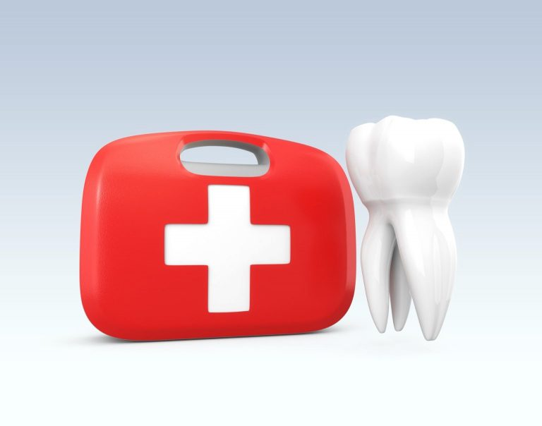 Illustration of a First Aid Kit next to a Tooth